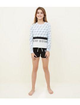Girls Black Do Not Disturb Pyjama Set by New Look