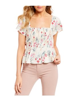 Flutter Sleeve Floral Print Top by Evolutionary