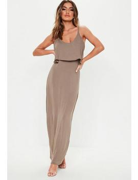 Taupe Overlay Maxi Dress by Missguided