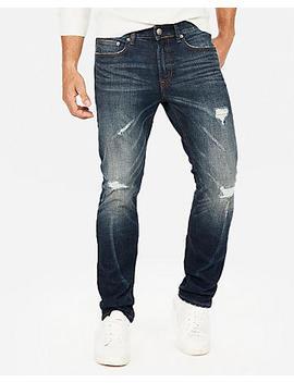 Slim Dark Wash Destroyed Stretch Jeans by Express