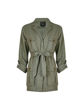 Khaki Linen Safari Jacket by Dorothy Perkins