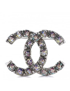Chanel Ruthenium Crystal Cc Brooch Iridescent by Chanel