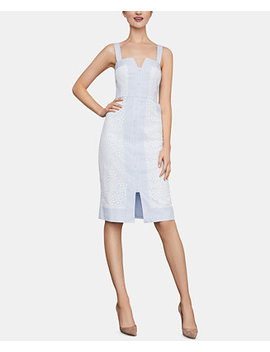 Lace & Pinstriped Dress by Bcbgmaxazria