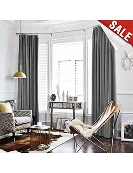Grey Room Darkening Velvet Curtains 95 Inch Long For Bedroom Thermal Insulated & Moderate Blackout Window Curtain For Living Room, Rod Pocket Single Width by Jinchan
