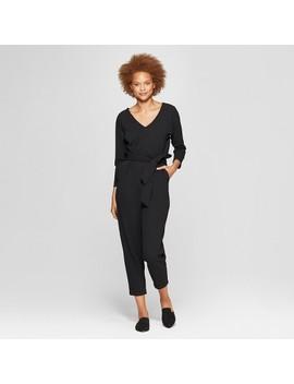 Women's 3/4 Sleeve V Neck Belted Jumpsuit   Prologue™ Black by Prologue