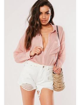 Pink Pinstripe Oversized Shirt by Missguided