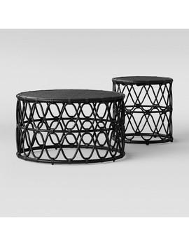 Jewel Round Coffee & Side Table Set Black   Opalhouse™ by Opalhouse