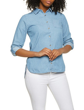 High Low Button Front Denim Shirt by Rainbow