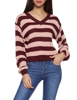 Striped V Neck Sweater by Rainbow