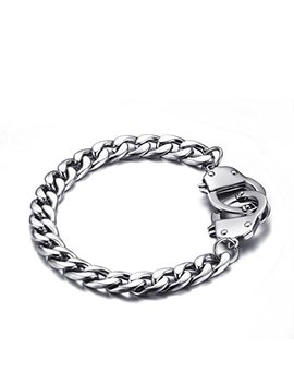 Housweety 1pc Stainless Steel Figaro Chain Handcuff Bracelet by Housweety