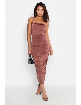 Strappy Square Neck Ruched Midaxi Dress by Boohoo