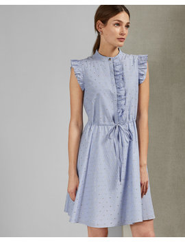 Stand Collar Ruffle Dress by Ted Baker