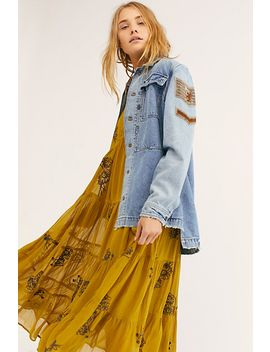 Embellished Military Denim Jacket by Free People