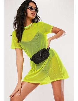 Neon Yellow Oversized Fishnet T Shirt Dress by Missguided