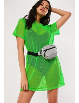 Neon Green Oversized Fishnet T Shirt Dress by Missguided