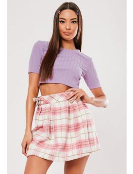 Tall Lilac Ribbed Crop Top by Missguided