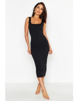 Ribbed Longline Square Neck Midi Dress by Boohoo