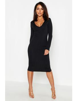 Ribbed Plunge Neck Midi Dress by Boohoo