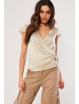 Beige Satin Wrap Blouse by Missguided
