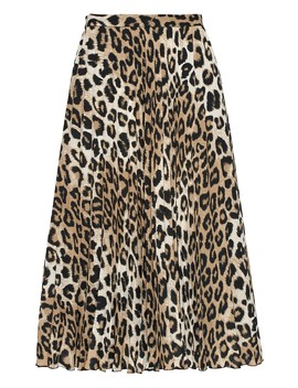 Petite Leopard Print Pleated Midi Skirt by Banana Repbulic