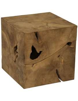 Root Cube Teak Wood Side Table by Generic