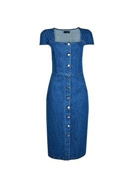 Blue Button Front Square Neck Shift Dress by Dorothy Perkins