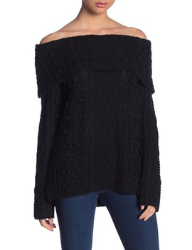 Off The Shoulder Knit Sweater by Love Token