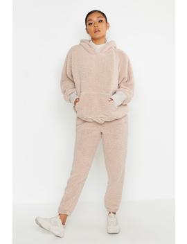 Knitted Borg Jogging Bottom by Boohoo