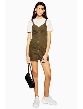 Khaki Button Denim Bodycon Dress by Topshop