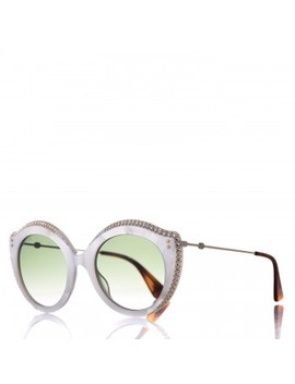 Gucci Crystal Cat Eye Gg0214 S Sunglasses White by Gucci
