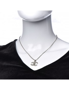 Chanel Crystal Cc Pendant Necklace Silver by Chanel