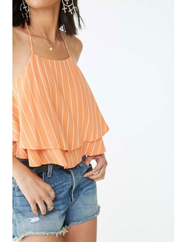Striped Flounce Cropped Cami by Forever 21