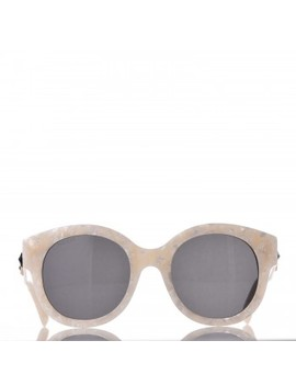 Gucci Round Frame Gg Star Sunglasses Gg0207 S White by Gucci