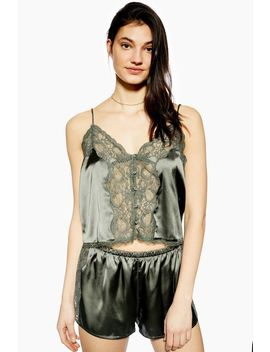 Lace Khaki Satin Camisole Top by Topshop
