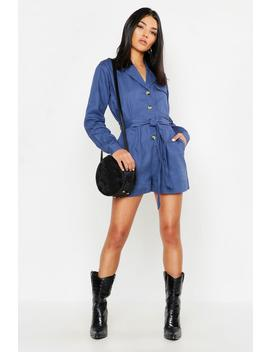 Utility Belted Denim Playsuit by Boohoo