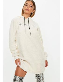 Cream Borg Brooklyn Slogan Sweater Dress by Missguided