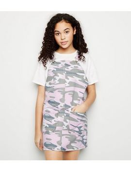 Girls Pink Camo Denim Pinafore Dress by New Look