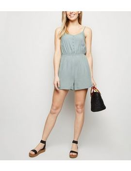 Mint Green Strappy Button Front Playsuit by New Look