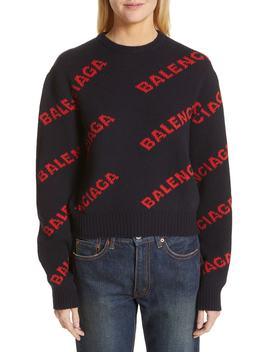Logo Jacquard Wool Blend Crop Sweater by Balenciaga