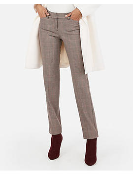 Low Rise Plaid Straight Leg Editor Pant by Express