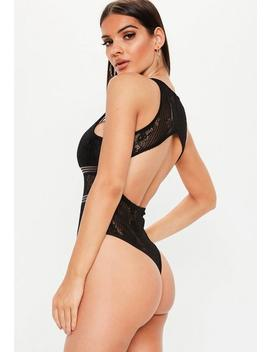Black Sports Tape Backless Lace Bodysuit by Missguided