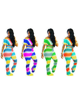 2pcs Set Women Jumpsuit Off Shouldr Ruffles Casual Short Sleeve Bodycon Rompers by Unbranded