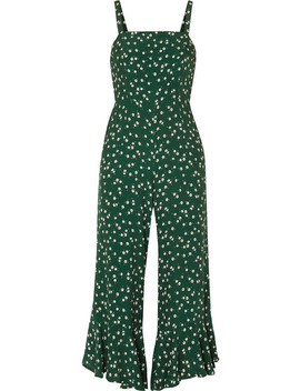 Lea Cropped Ruffled Floral Print Crepe De Chine Jumpsuit by Faithfull The Brand