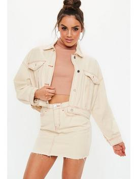 Stone Contrast Stitch Cropped Boxy Denim Jacket by Missguided