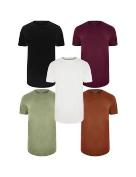 Multicoloured Long Line T Shirt 5 Pack by River Island