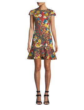 Kirby Ruffle Short Sleeve Dress by Alice + Olivia