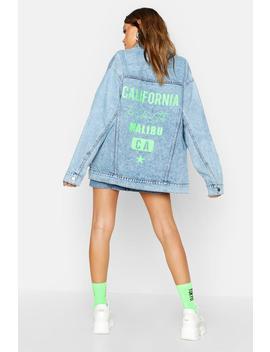Neon California Oversized Denim Jacket by Boohoo