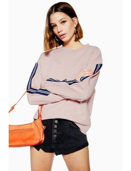 Petite Taped Sleeve Sweatshirt by Topshop