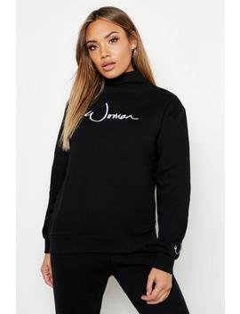 Funnel Neck Woman Embroidered Sweat by Boohoo