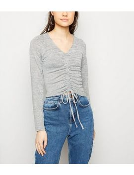 Pale Grey Ruched Front Fine Knit Top by New Look